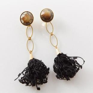 [テイクミー][2way]vintagebutton×blacktassel ピアス