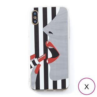 [ドリームプラス]dreamplus STRIPE MIRROR CASE レッドリップ for iPhone X
