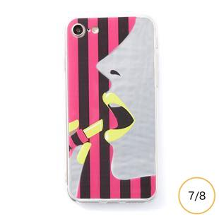 [ドリームプラス]dreamplus STRIPE MIRROR CASE イエローリップ for iPhone 8/7
