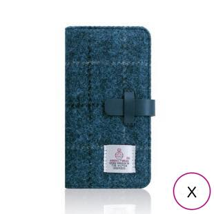 [エスエルジーデザイン]SLG Design Harris Tweed Diary ネイビー for iPhone X